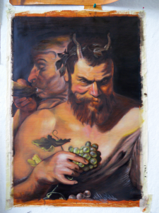 2 satyrs, a copy of a painting by Rubens, painted by Steven Craeynest