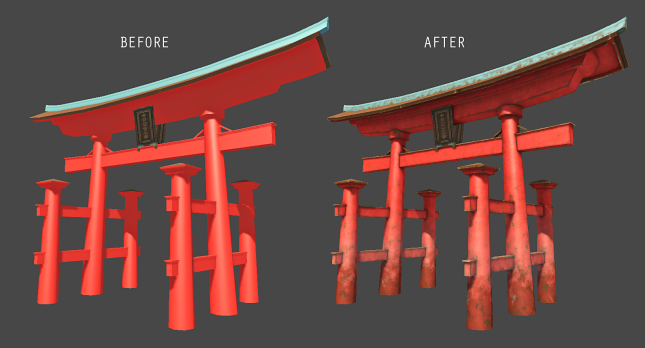 Tori, before and after using the WORN EDGES tool